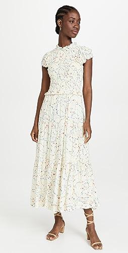 Sea - Alison Print Short Sleeve Smocked Dress