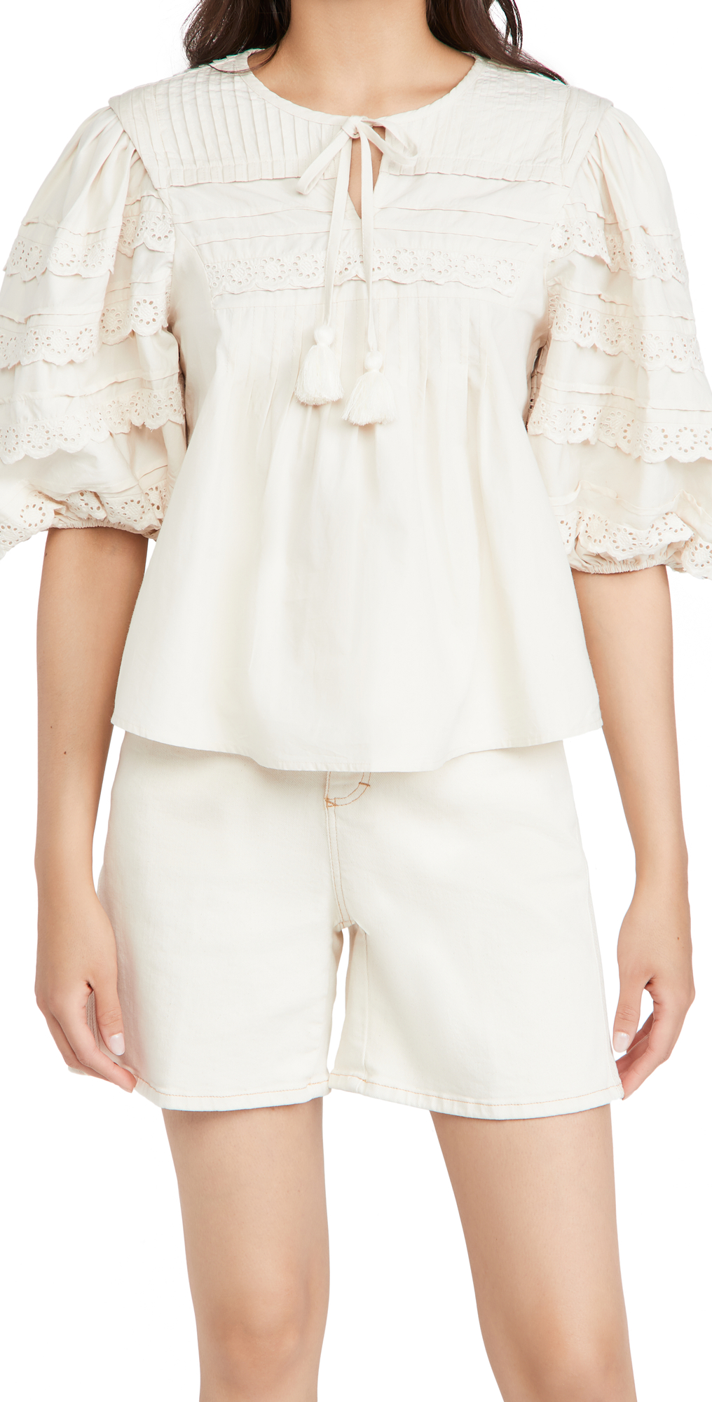 Sea Everleigh Tasseled Pleated Broderie Anglaise Cotton Blouse In Cream