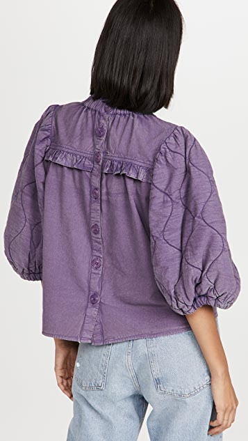 Sea Layla Quilted Puff Sleeve Top
