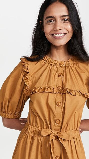 Sea Renee 棉层褶连衣裙