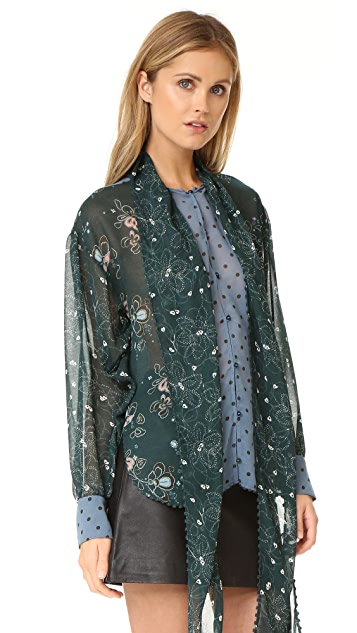 See by Chloe Printed Tie Neck Blouse