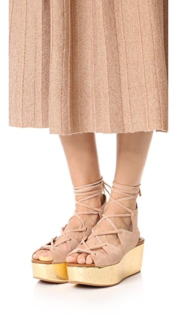 See by Chloe Lilly Wedge Lace Up Sandals
