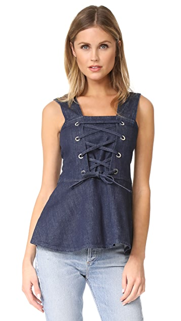 See by Chloe Denim Lace Up Top