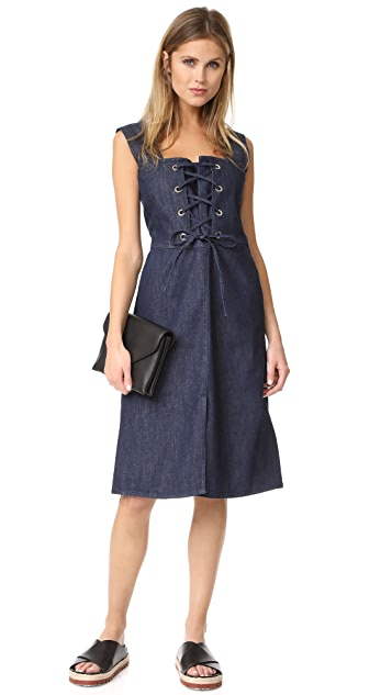 f10ce83879825f ... See by Chloe Denim Lace Up Dress ...
