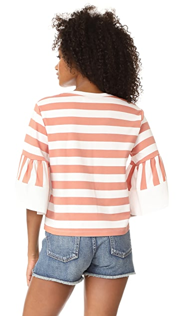 See by Chloe Flare Sleeved Striped Tee
