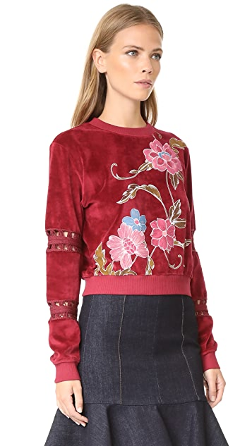 See by Chloe Embroidered Velour Pullover