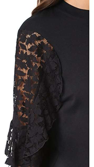 See by Chloe Lace Sleeve Pullover