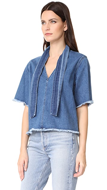 See by Chloe Denim Tie Neck Top