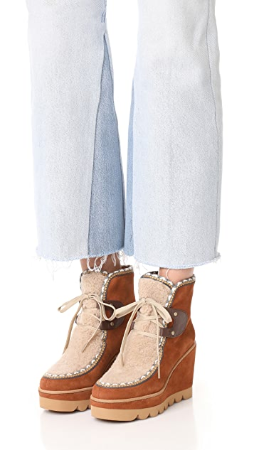 See by Chloe Klaudia Wedge Shearling Booties