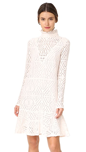 See by Chloe Lace Ruffle Neck Dress