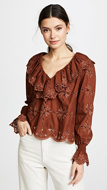 See by Chloe Broderie Anglaise Top - Mahogany