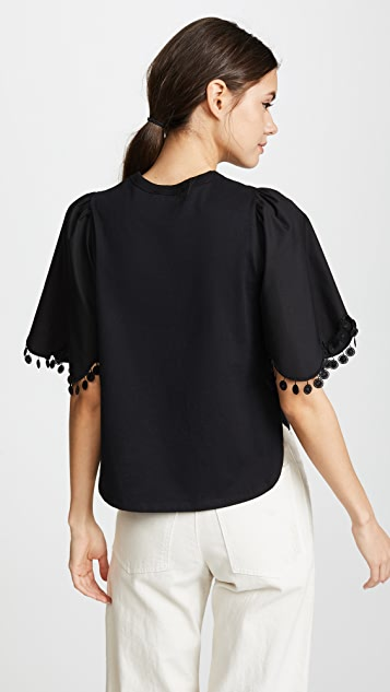 See by Chloe Embellished Tee with Sleeve Detail