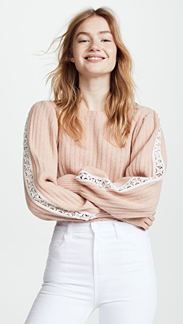 See by Chloe Knit and Lace Sweater - Cameo Rose