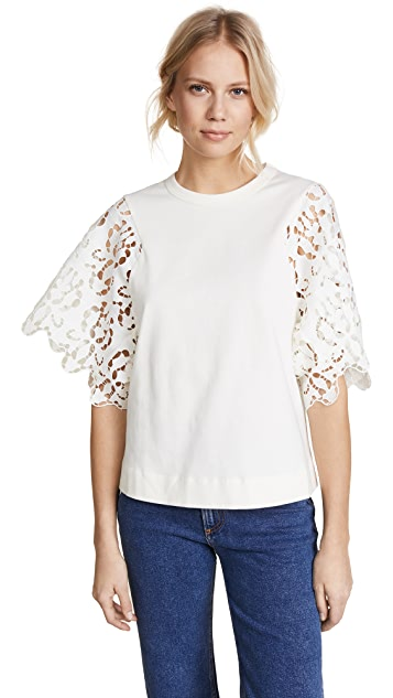 See by Chloe Tee with Lace Sleeves