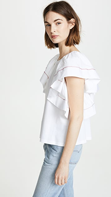 See by Chloe Ruffle Sleeved Tee