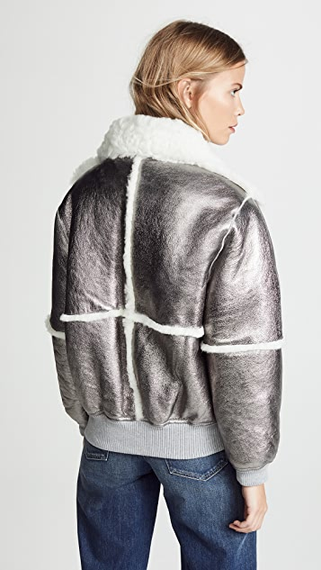 See by Chloe Metallic Bomber Shearling Jacket