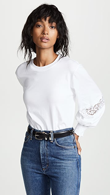 See by Chloe Lace Inset Ballon Sleeve Top