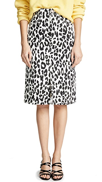 See by Chloe Cheetah Print Midi Skirt