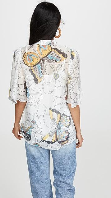 See by Chloe Блуза с рукавами с буфами и принтом
