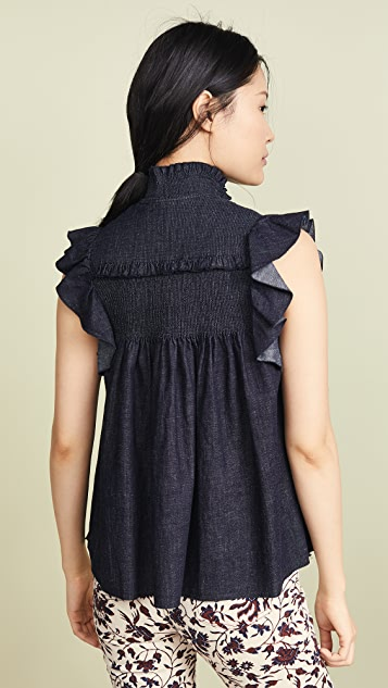 See by Chloé 褶缝牛仔布女式衬衫