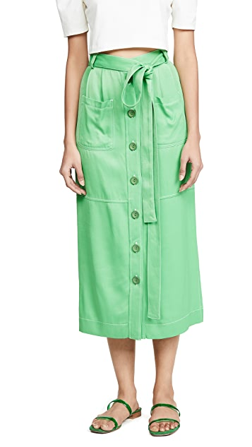 See by Chloe Button Front Belted Skirt