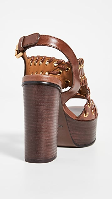 See by Chloe Сандалии Helen с люверсами с обметочными швами