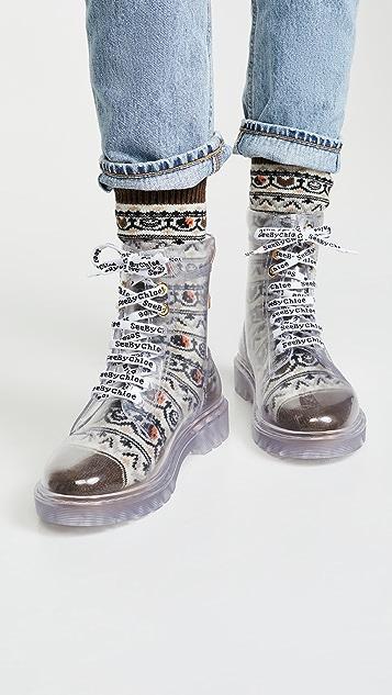 See by Chloe Florrie 系带雨靴