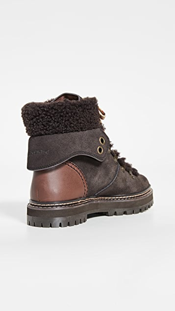 See by Chloe Eileen Flat Shearling Hiker Boots