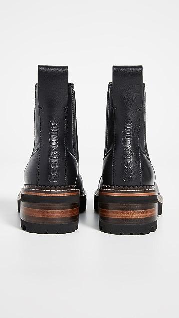 See by Chloé 沟纹鞋底切尔西靴子