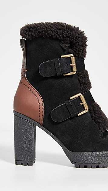 See by Chloe Buckle Shearling Tall Boots