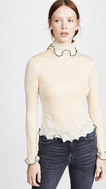 See by Chloe Ruffle Hem Turtleneck Top