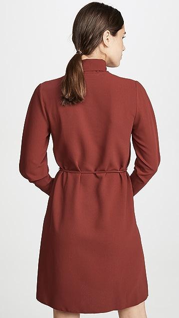 See by Chloé 带领口饰带长袖连衣裙