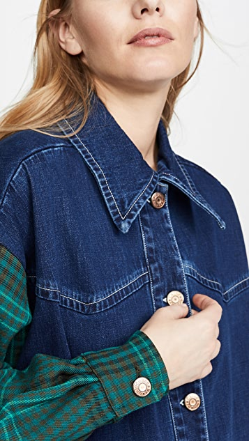 See by Chloe Denim Button Down with Plaid Sleeve