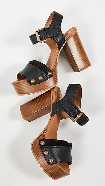 See by Chloe Saya 木底高筒凉鞋