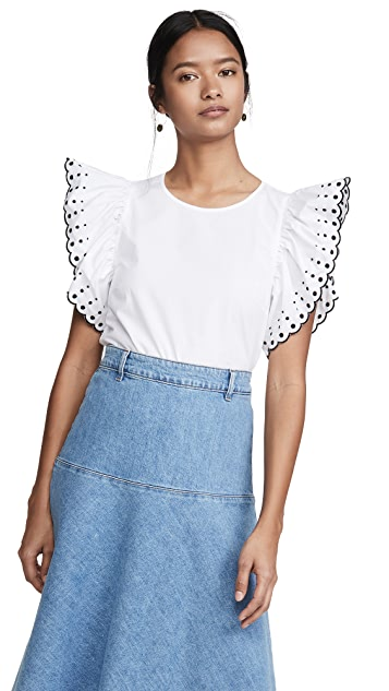 See by Chloe Ruffle Sleeve Embroidered Tee