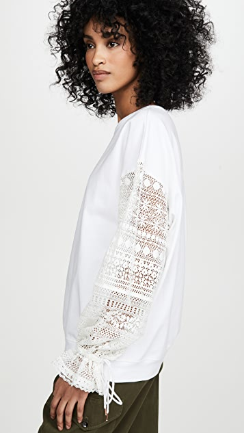See by Chloé 蕾丝衣袖 T 恤