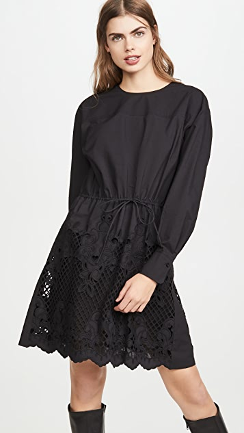 See by Chloe Cinched Waist Dress with Poplin Detail