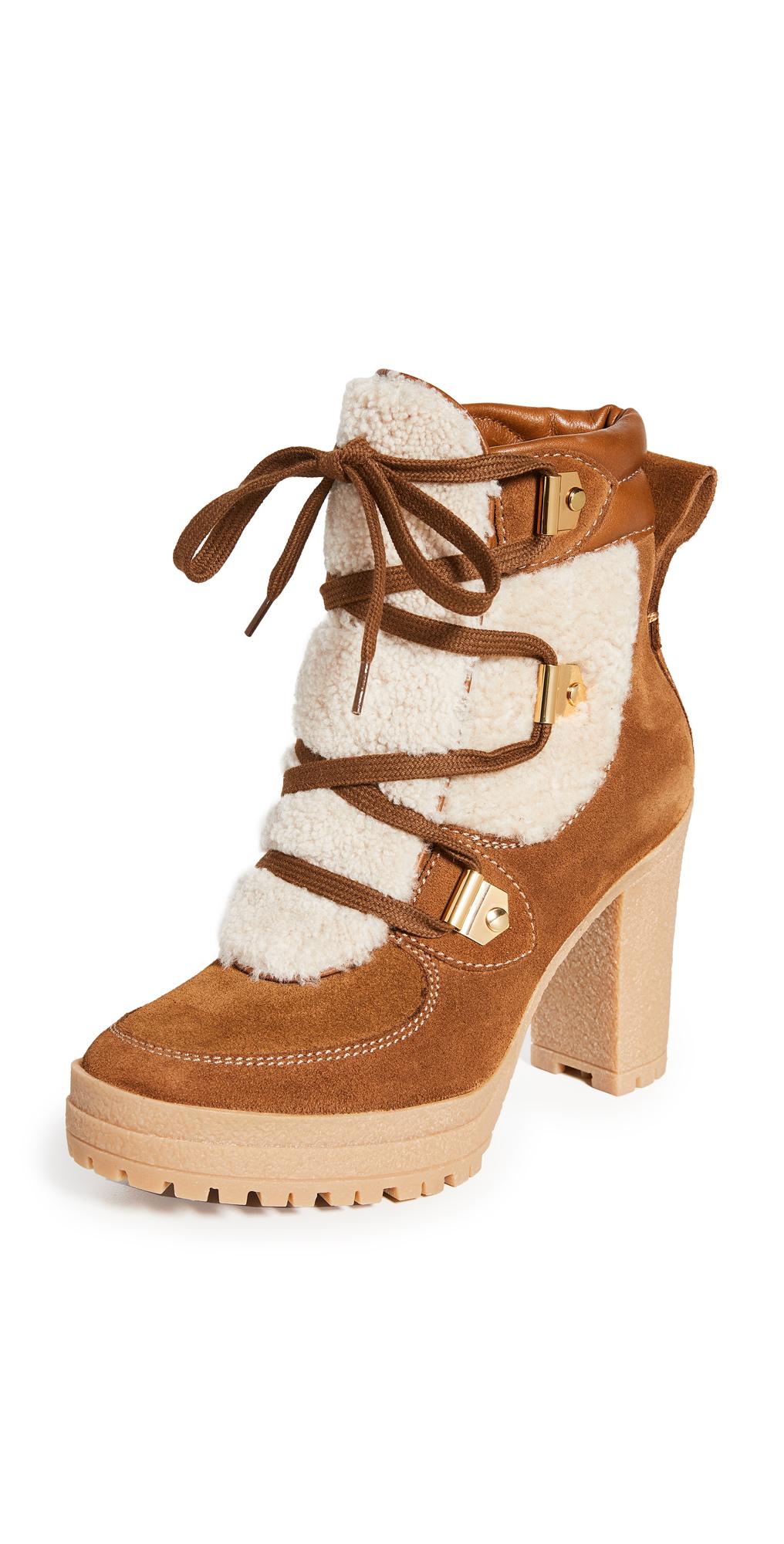 See by Chloe Karla Shearling Block Heel Boots