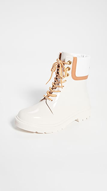 See by Chloe Florrie Lace Up Rain Boots