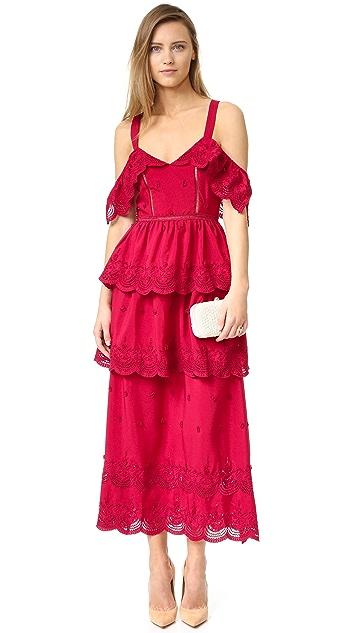 Self Portrait Off Shoulder Ruffle Dress