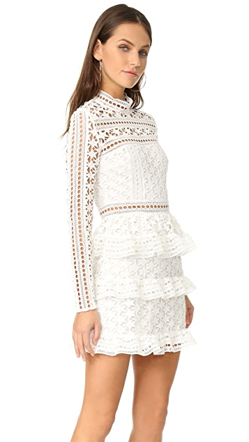 Self Portrait High Neck Star Lace Dress