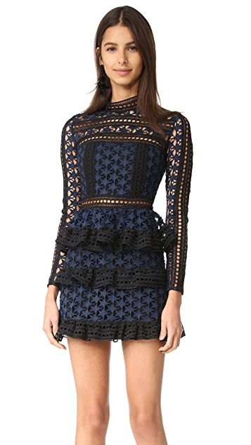 Self Portrait High Neck Star Lace Dress