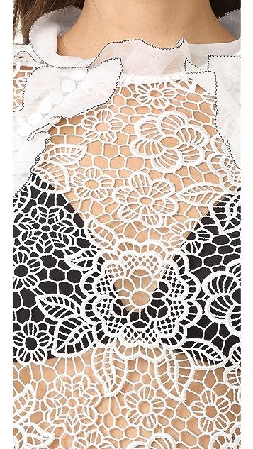 Self Portrait Cutout Floral Top
