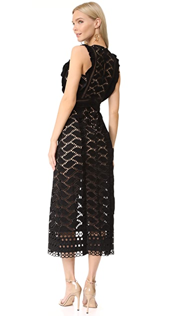 Self Portrait Cutwork Midi Dress