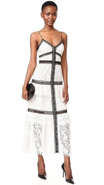 Self Portrait Lace Trim Maxi Dress