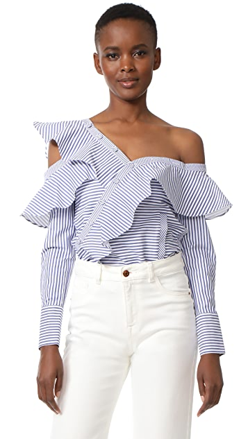 Self Portrait Striped Frill Shirt