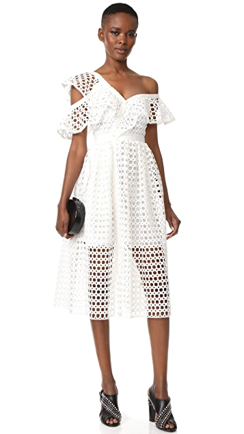 Self Portrait Lace Frill Midi Dress