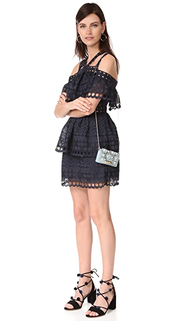 Self Portrait Embroidered Tiered Mini Dress