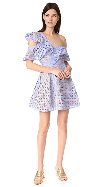Self Portrait Guipure Frill Mini Dress