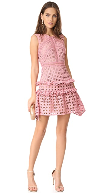 Self Portrait Crosshatch Frill Mini Dress